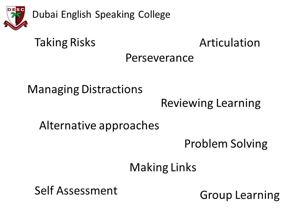 Making Links Alternative approaches Perseverance Self Assessment Articulation Taking Risks Managing Distractions Problem Solving Reviewing Learning Gr