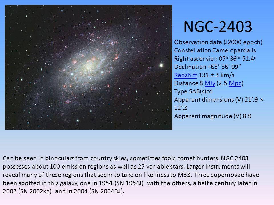 NGC-2403 Can be seen in binoculars from country skies, sometimes fools comet hunters.