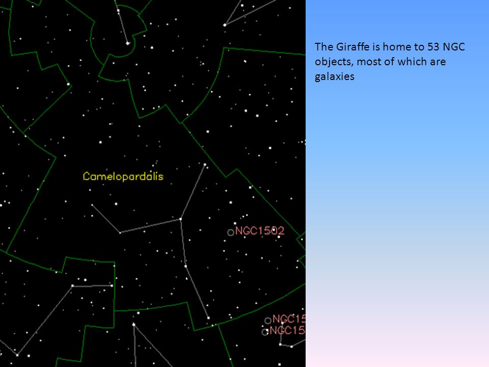 The Giraffe is home to 53 NGC objects, most of which are galaxies