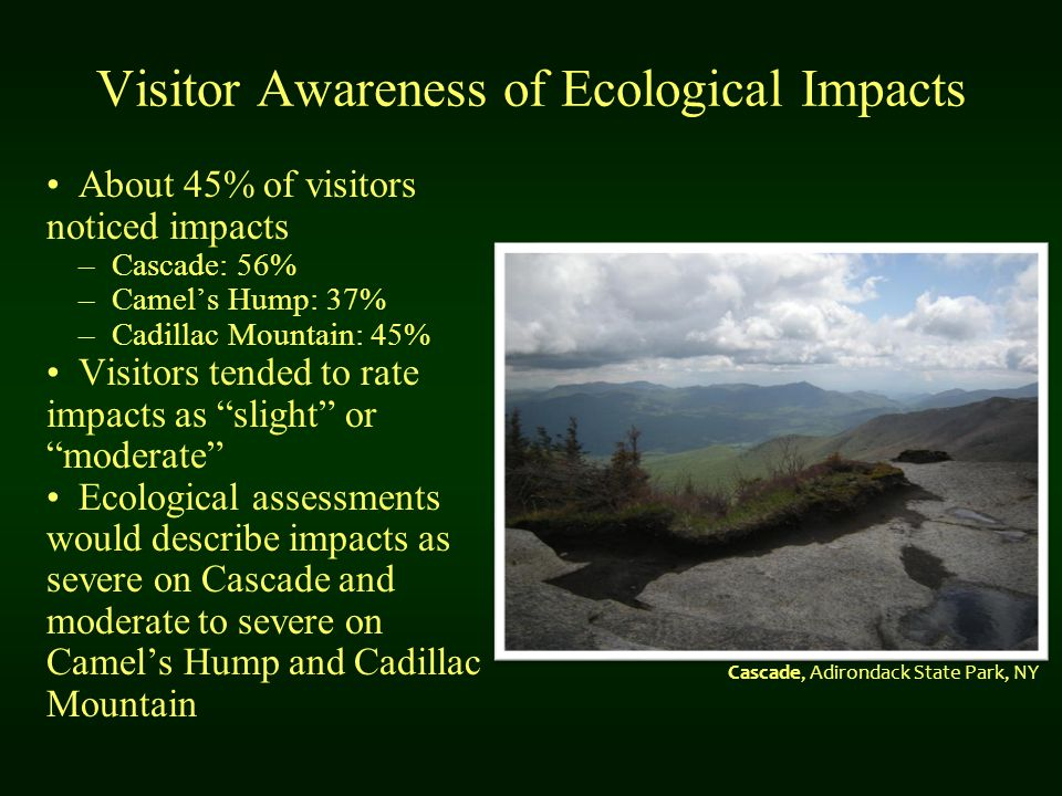Visitor Awareness of Ecological Impacts About 45% of visitors noticed impacts –Cascade: 56% –Camel's Hump: 37% –Cadillac Mountain: 45% Visitors tended to rate impacts as slight or moderate Ecological assessments would describe impacts as severe on Cascade and moderate to severe on Camel's Hump and Cadillac Mountain Cascade, Adirondack State Park, NY