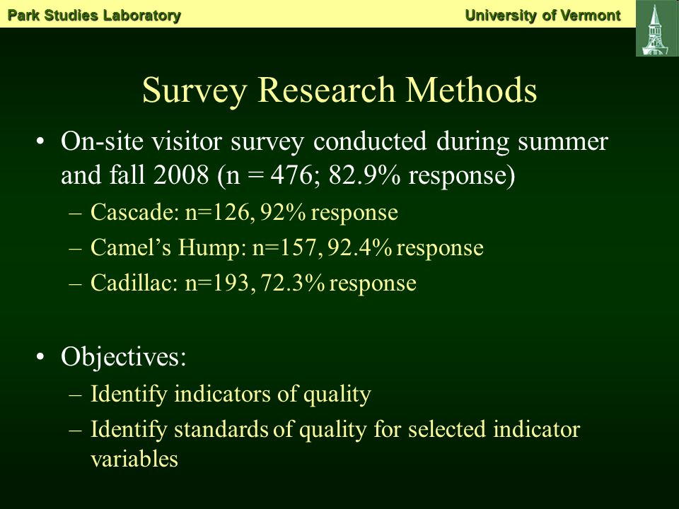 Survey Research Methods On-site visitor survey conducted during summer and fall 2008 (n = 476; 82.9% response) –Cascade: n=126, 92% response –Camel's Hump: n=157, 92.4% response –Cadillac: n=193, 72.3% response Objectives: –Identify indicators of quality –Identify standards of quality for selected indicator variables Park Studies Laboratory University of Vermont