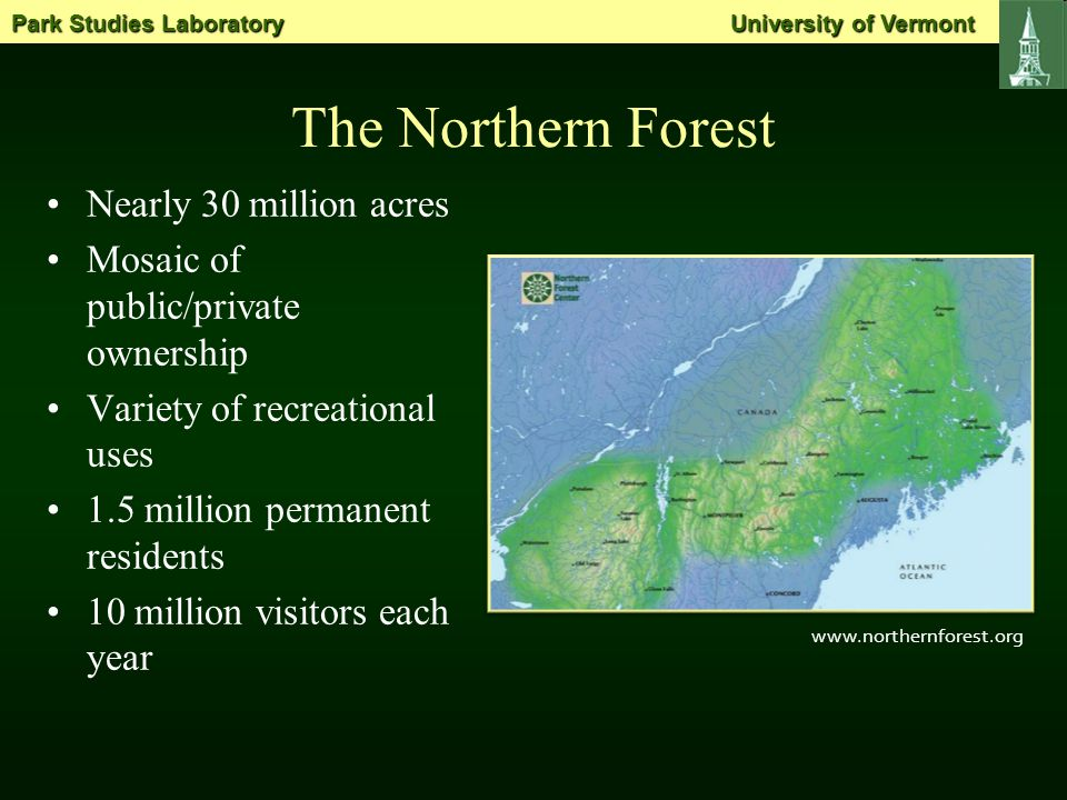 Research Sites Cascade Mountain, NY Camel's Hump, VT Cadillac Mountain, ME http://www.ncfcnfr.net/demo.html Park Studies Laboratory University of Vermont