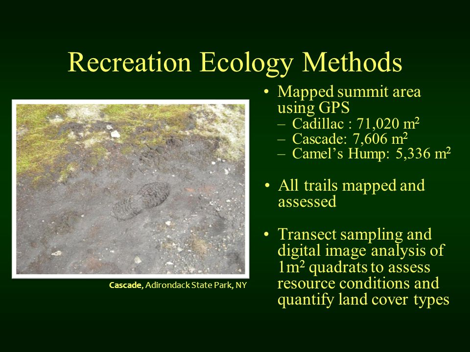 Recreation Ecology Methods Mapped summit area using GPS –Cadillac : 71,020 m 2 –Cascade: 7,606 m 2 –Camel's Hump: 5,336 m 2 All trails mapped and assessed Transect sampling and digital image analysis of 1m 2 quadrats to assess resource conditions and quantify land cover types Cascade, Adirondack State Park, NY
