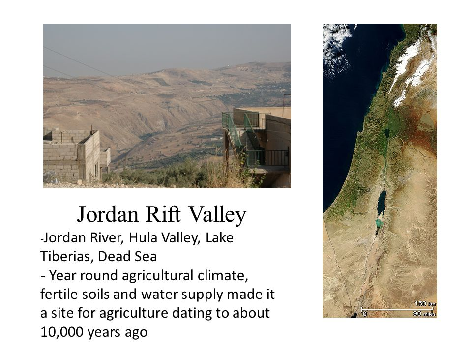 Jordan Rift Valley - Jordan River, Hula Valley, Lake Tiberias, Dead Sea - Year round agricultural climate, fertile soils and water supply made it a site for agriculture dating to about 10,000 years ago