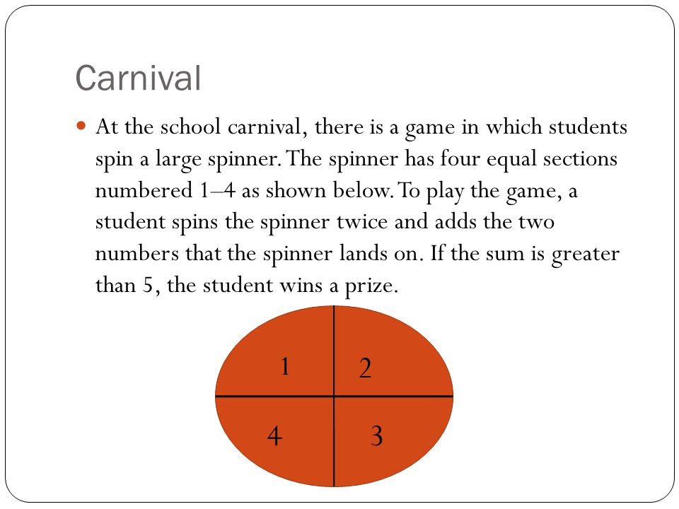 Carnival At the school carnival, there is a game in which students spin a large spinner. The spinner has four equal sections numbered 1–4 as shown bel