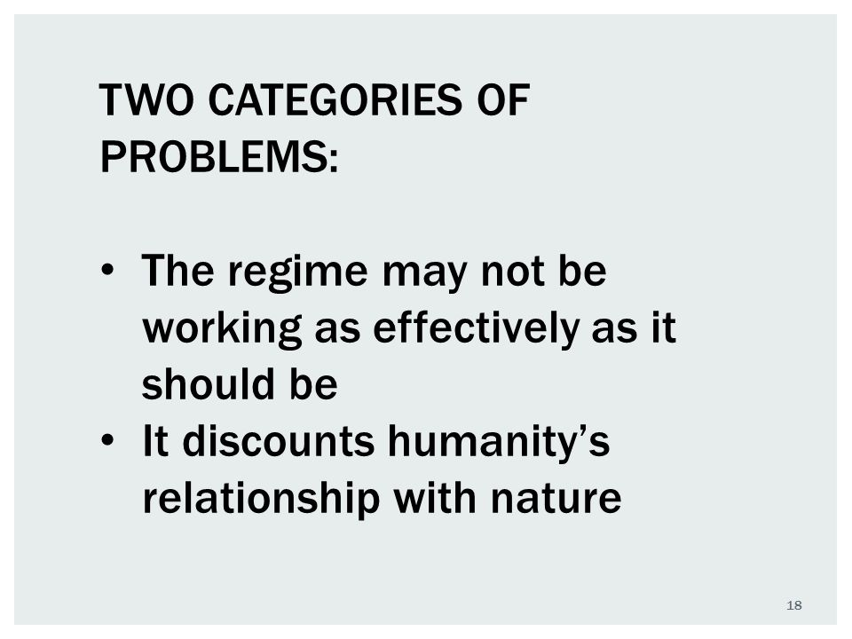 18 TWO CATEGORIES OF PROBLEMS: The regime may not be working as effectively as it should be It discounts humanity's relationship with nature
