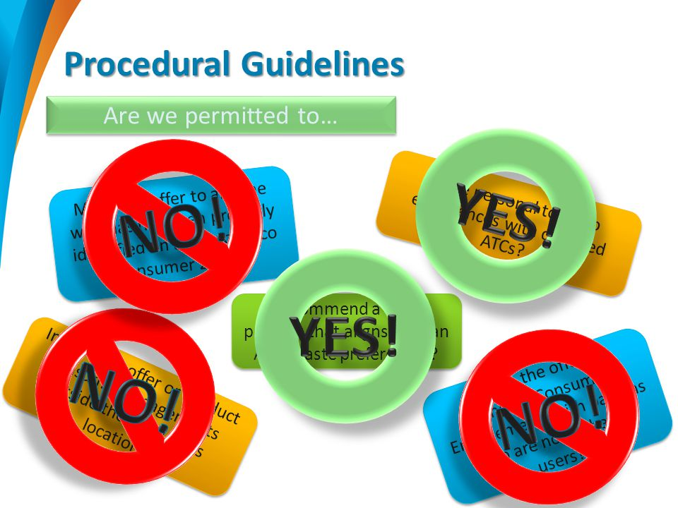Procedural Guidelines Are we permitted to… Share personal tobacco experiences with qualified ATCs.