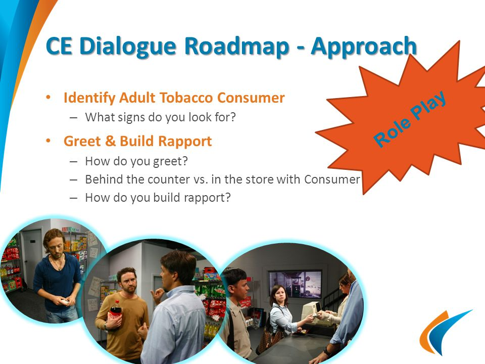 CE Dialogue Roadmap - Approach Identify Adult Tobacco Consumer – What signs do you look for? Greet & Build Rapport – How do you greet? – Behind the co