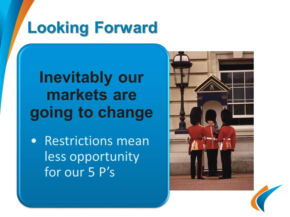 Looking Forward Restrictions mean less opportunity for our 5 P's Inevitably our markets are going to change
