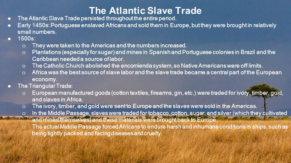 The Atlantic Slave Trade ●The Atlantic Slave Trade persisted throughout the entire period.