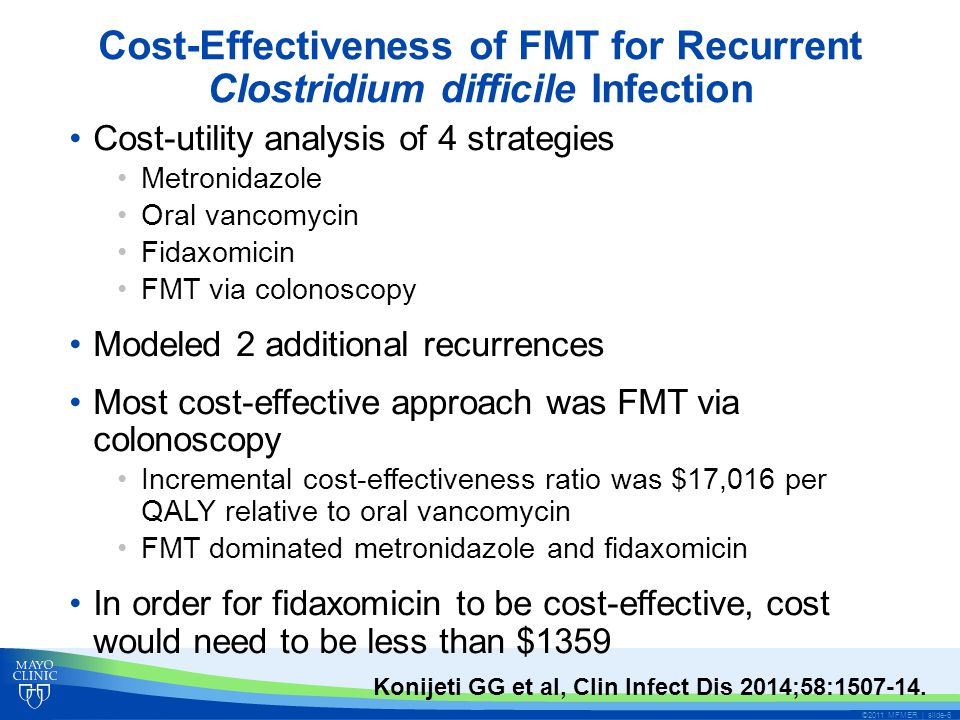 Cost-Effectiveness of FMT for Recurrent Clostridium difficile Infection Cost-utility analysis of 4 strategies Metronidazole Oral vancomycin Fidaxomicin FMT via colonoscopy Modeled 2 additional recurrences Most cost-effective approach was FMT via colonoscopy Incremental cost-effectiveness ratio was $17,016 per QALY relative to oral vancomycin FMT dominated metronidazole and fidaxomicin In order for fidaxomicin to be cost-effective, cost would need to be less than $1359 ©2011 MFMER | slide-6 Konijeti GG et al, Clin Infect Dis 2014;58:1507-14.