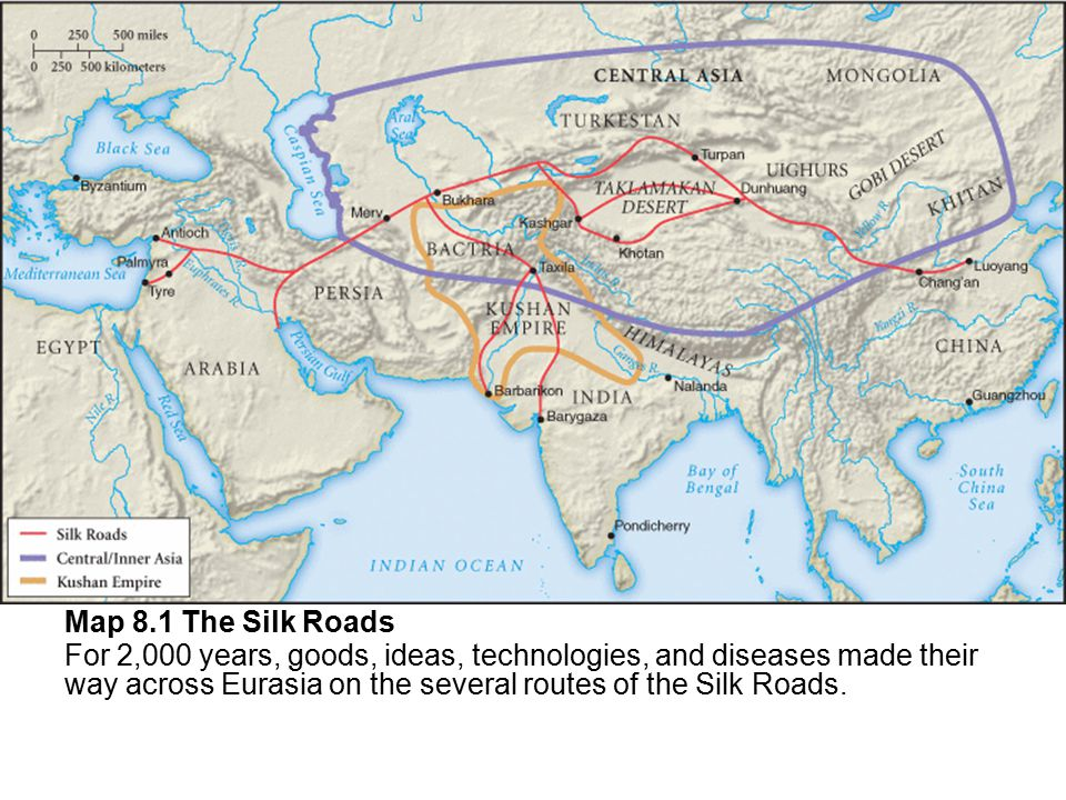 Map 8.1 The Silk Roads For 2,000 years, goods, ideas, technologies, and diseases made their way across Eurasia on the several routes of the Silk Roads.