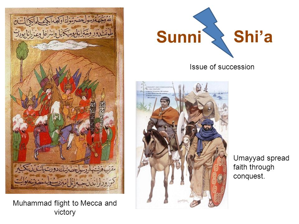 Muhammad flight to Mecca and victory Umayyad spread faith through conquest.
