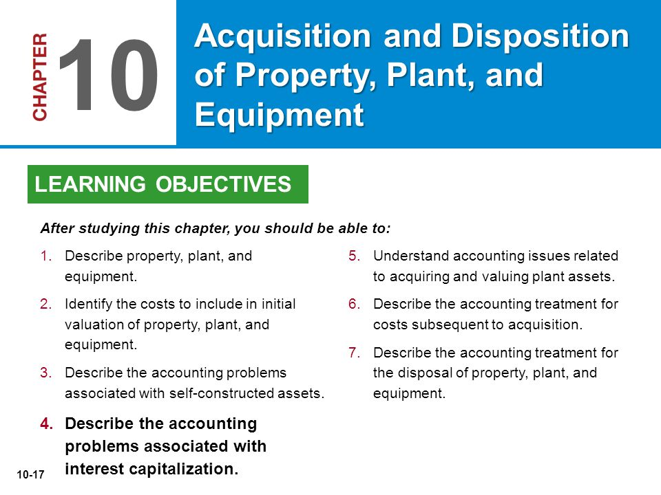 10-17 5.Understand accounting issues related to acquiring and valuing plant assets. 6.Describe the accounting treatment for costs subsequent to acquis
