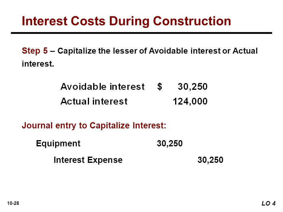 10-28 Journal entry to Capitalize Interest: Equipment 30,250 Interest Expense30,250 Step 5 – Capitalize the lesser of Avoidable interest or Actual int