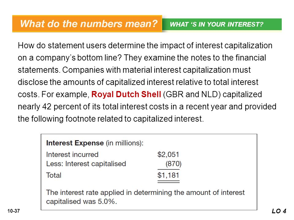 10-37 How do statement users determine the impact of interest capitalization on a company's bottom line? They examine the notes to the financial state