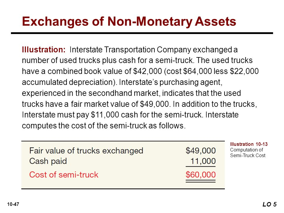 10-47 Illustration: Interstate Transportation Company exchanged a number of used trucks plus cash for a semi-truck. The used trucks have a combined bo