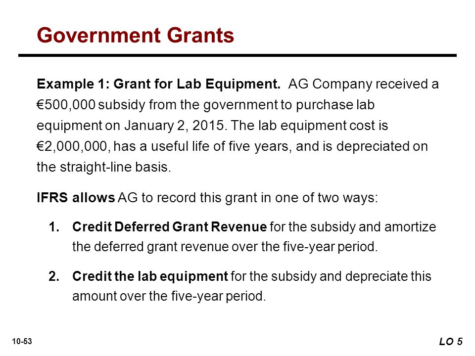 10-53 Example 1: Grant for Lab Equipment. AG Company received a €500,000 subsidy from the government to purchase lab equipment on January 2, 2015. The
