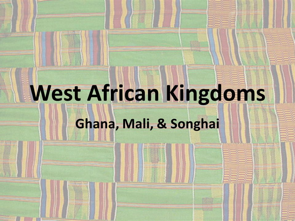 Kingdom of Ghana, 400-1200 400: Ghana unites an area between the Niger and Senegal Rivers Gained control of West Africa's main trade routes King taxed all trade passing through the region, especially salt and gold Tax money financed strong armies and a cavalry Made iron swords, spears, and lances 1076: invaded by Muslims from North Africa Lasted until 1200