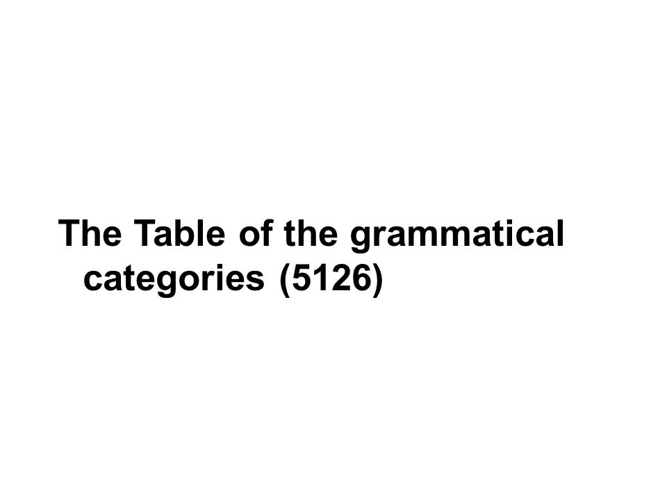 The Table of the grammatical categories (5126)