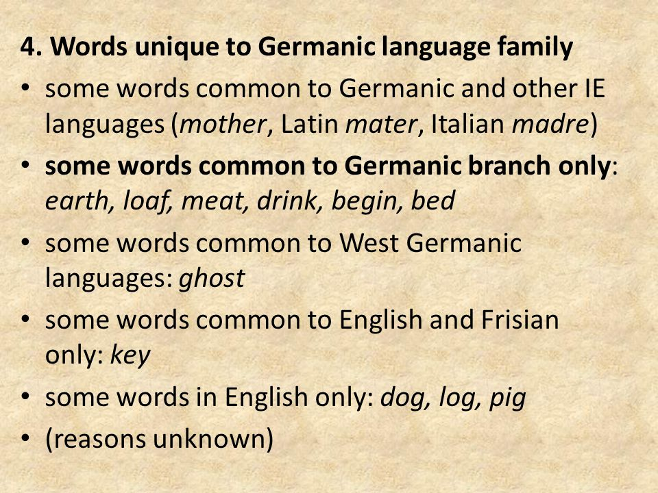 4. Words unique to Germanic language family some words common to Germanic and other IE languages (mother, Latin mater, Italian madre) some words commo