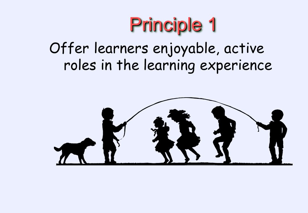 Principle 1 Offer learners enjoyable, active roles in the learning experience