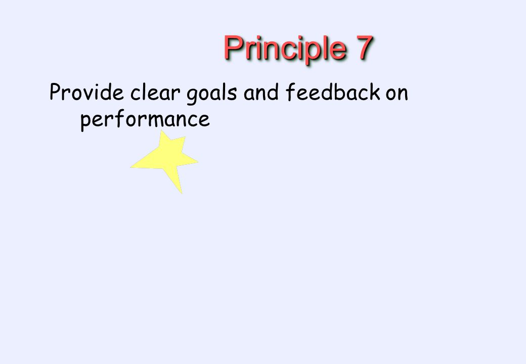 Principle 7 Provide clear goals and feedback on performance