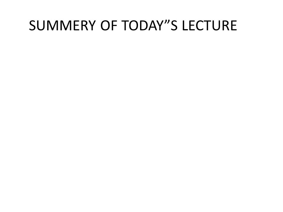"""SUMMERY OF TODAY""""S LECTURE"""