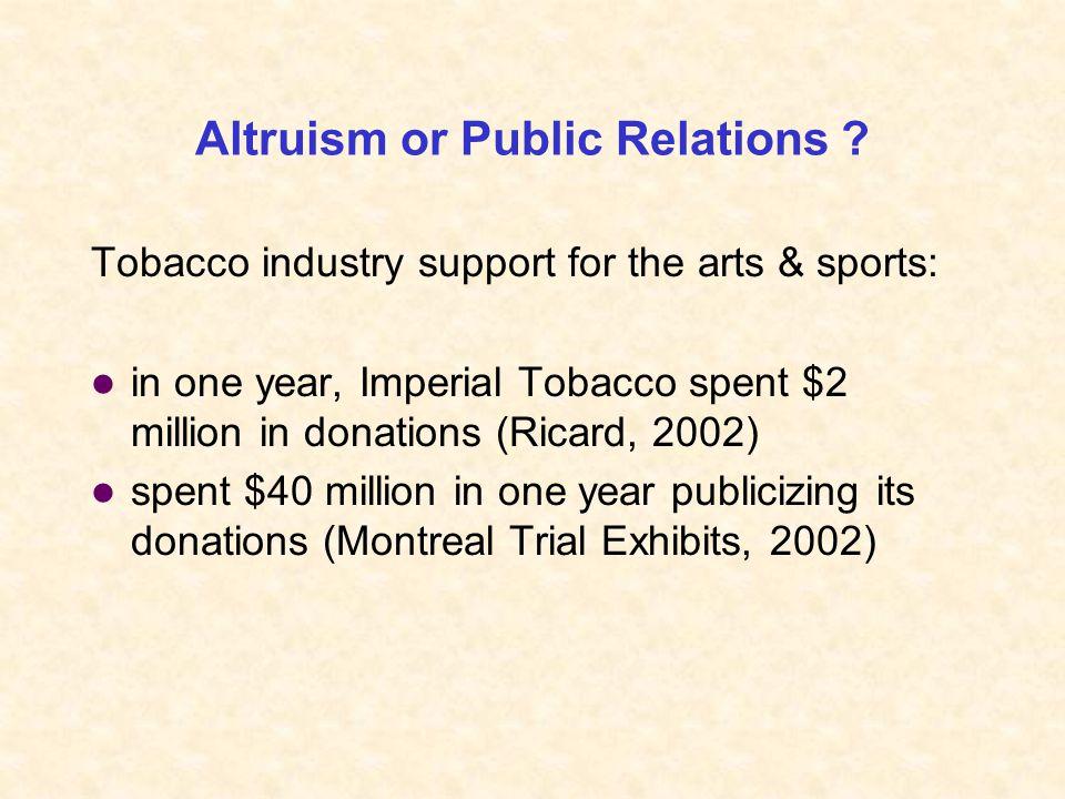 Altruism or Public Relations .