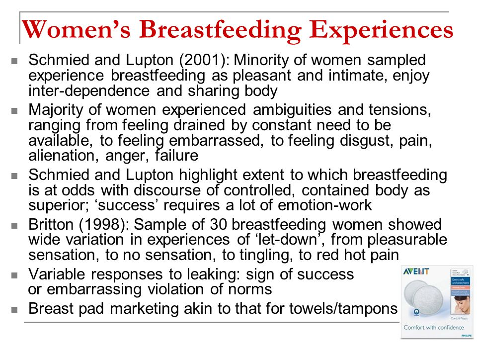 Women's Breastfeeding Experiences Schmied and Lupton (2001): Minority of women sampled experience breastfeeding as pleasant and intimate, enjoy inter-