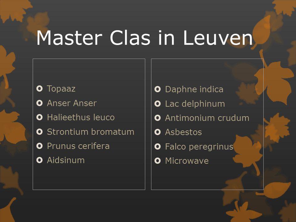 Master Clas in Leuven  Topaaz  Anser Anser  Halieethus leuco  Strontium bromatum  Prunus cerifera  Aidsinum  Daphne indica  Lac delphinum  Antimonium crudum  Asbestos  Falco peregrinus  Microwave