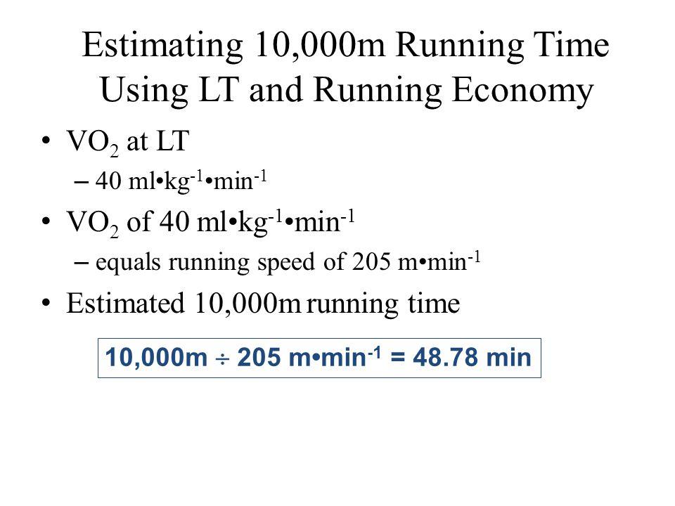 Estimating 10,000m Running Time Using LT and Running Economy VO 2 at LT – 40 mlkg -1 min -1 VO 2 of 40 mlkg -1 min -1 – equals running speed of 205 mm