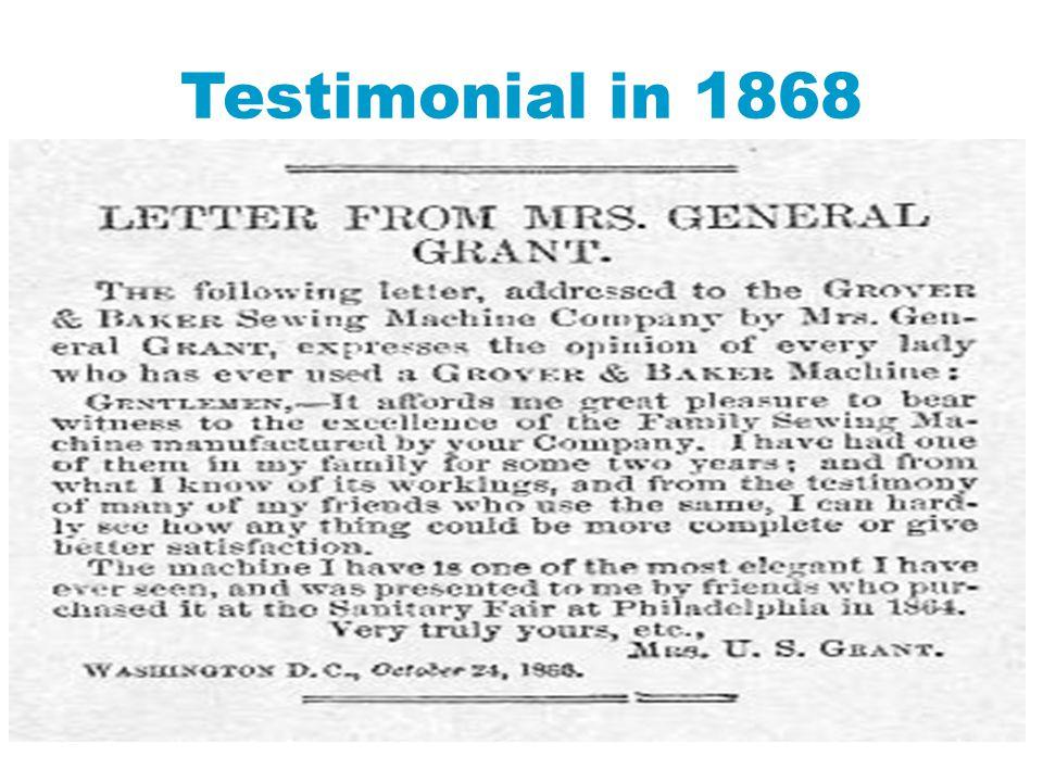 Testimonial in 1868