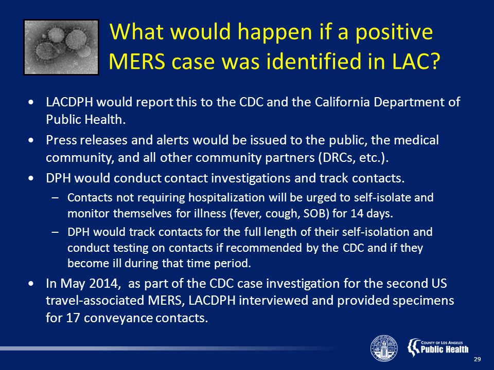 What would happen if a positive MERS case was identified in LAC.