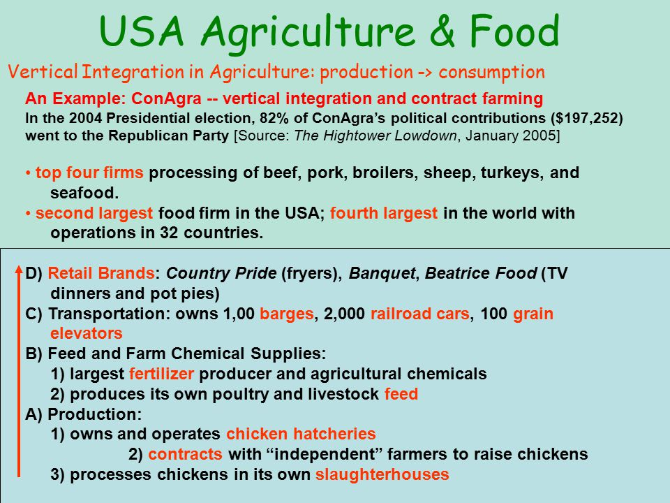 USA Agriculture & Food 5 largest livestock commodity processors' share of the US market 10 companies supply more than 50% of all food and drinks sold in the USA.