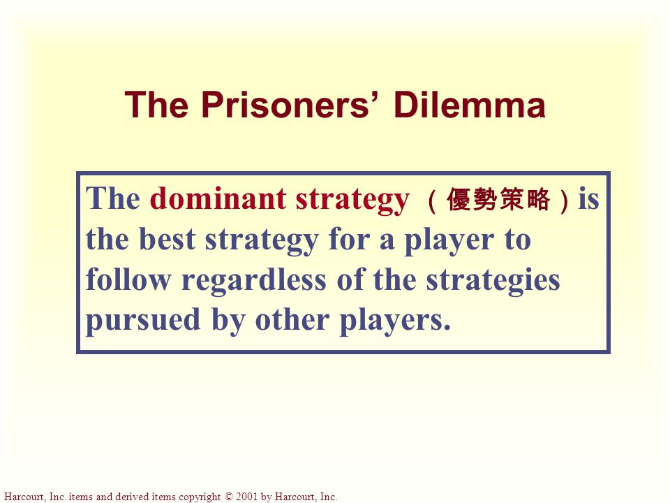 Harcourt, Inc. items and derived items copyright © 2001 by Harcourt, Inc. The Prisoners' Dilemma The dominant strategy (優勢策略) is the best strategy for