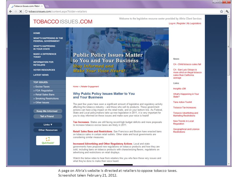 A page on Altria's website is directed at retailers to oppose tobacco taxes.