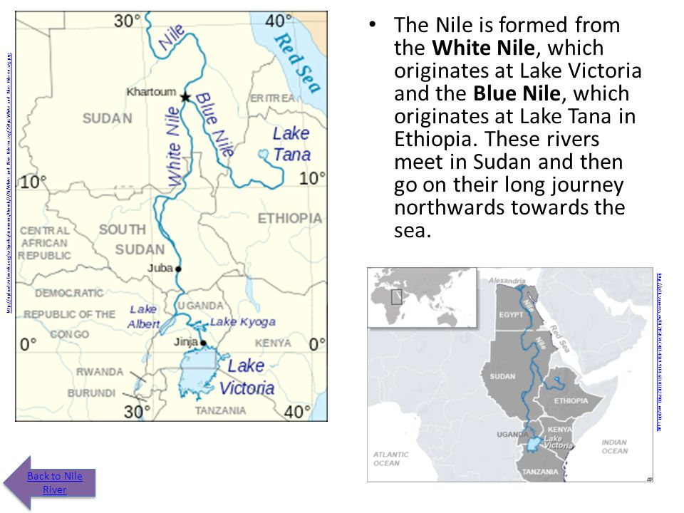 Nile River This river is the life blood of Egypt. It stretches from south to north. Click on river in map to see where it originates. http://www.woodl