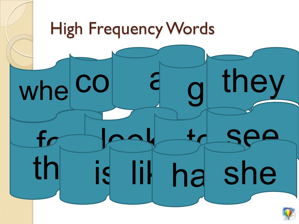 High Frequency Words where come a go they for lookto see the islike has she