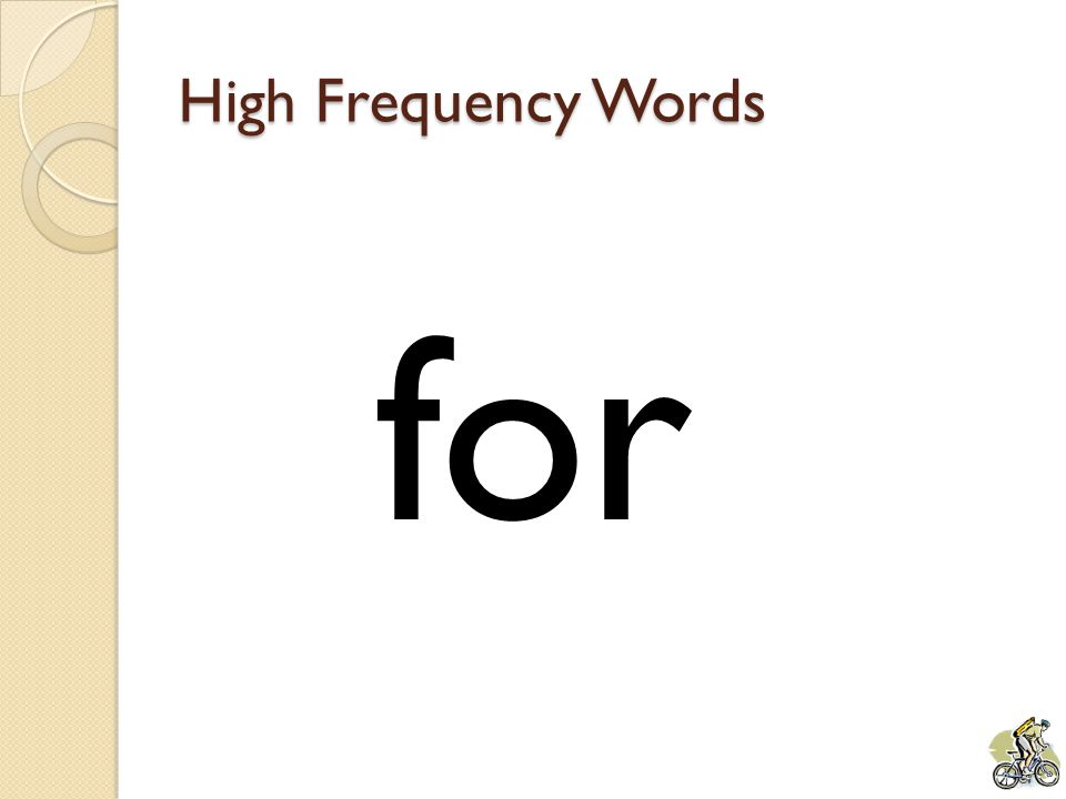 High Frequency Words for