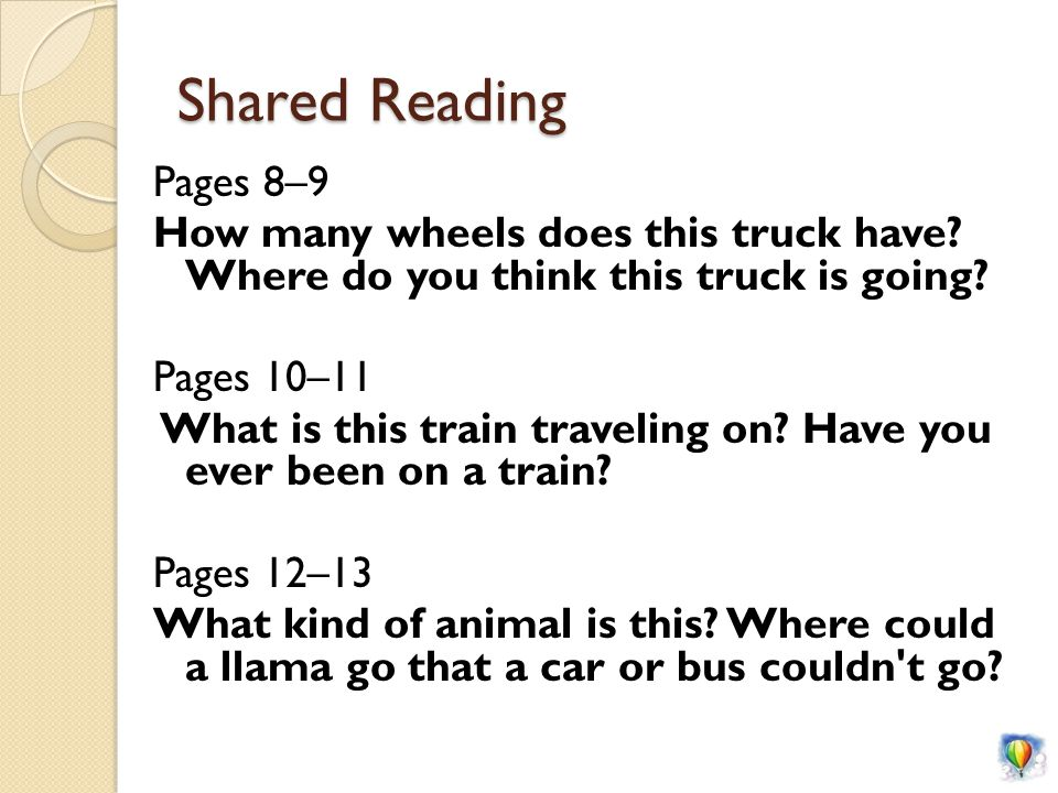 Shared Reading Pages 8–9 How many wheels does this truck have.