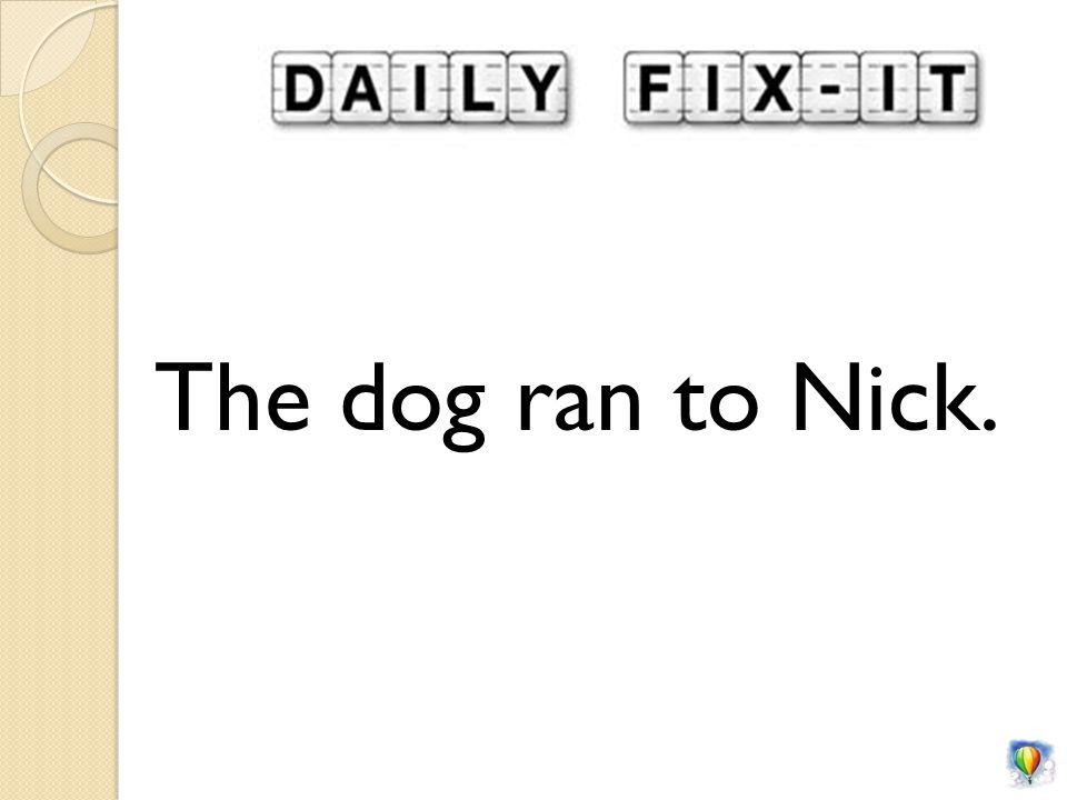 The dog ran to Nick.