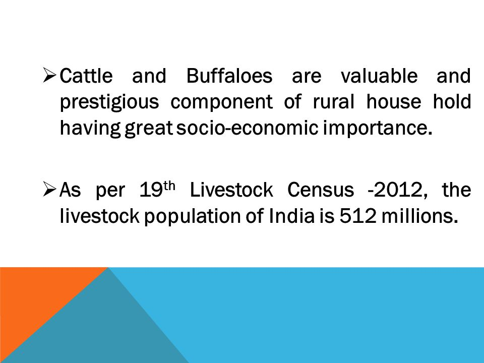  Cattle and Buffaloes are valuable and prestigious component of rural house hold having great socio-economic importance.