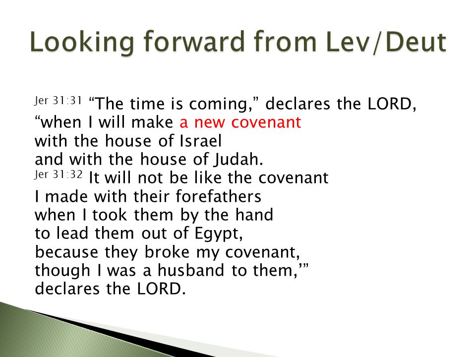 """Jer 31:31 """"The time is coming,"""" declares the LORD, """"when I will make a new covenant with the house of Israel and with the house of Judah. Jer 31:32 It"""