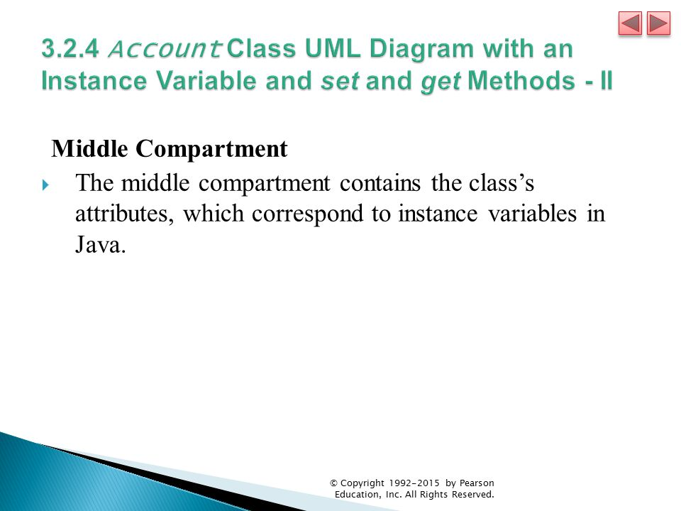 Middle Compartment  The middle compartment contains the class's attributes, which correspond to instance variables in Java.