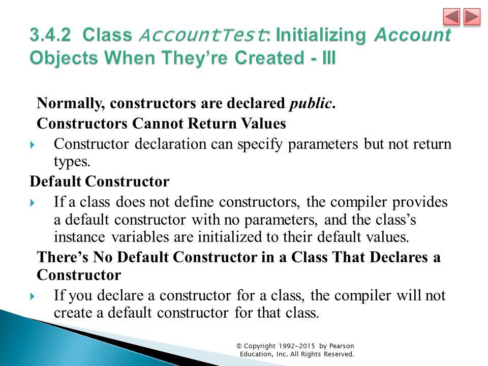 Normally, constructors are declared public.