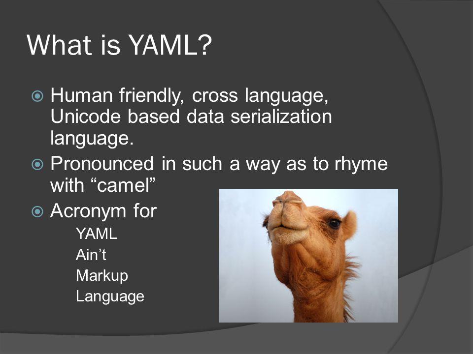 What is YAML.  Human friendly, cross language, Unicode based data serialization language.