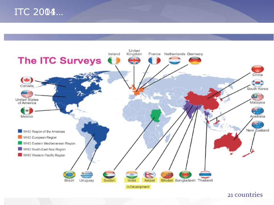 ITC 2004…ITC 2011… Six countries: USA, Canada, UK, Australia, Thailand, Malaysia 21 countries