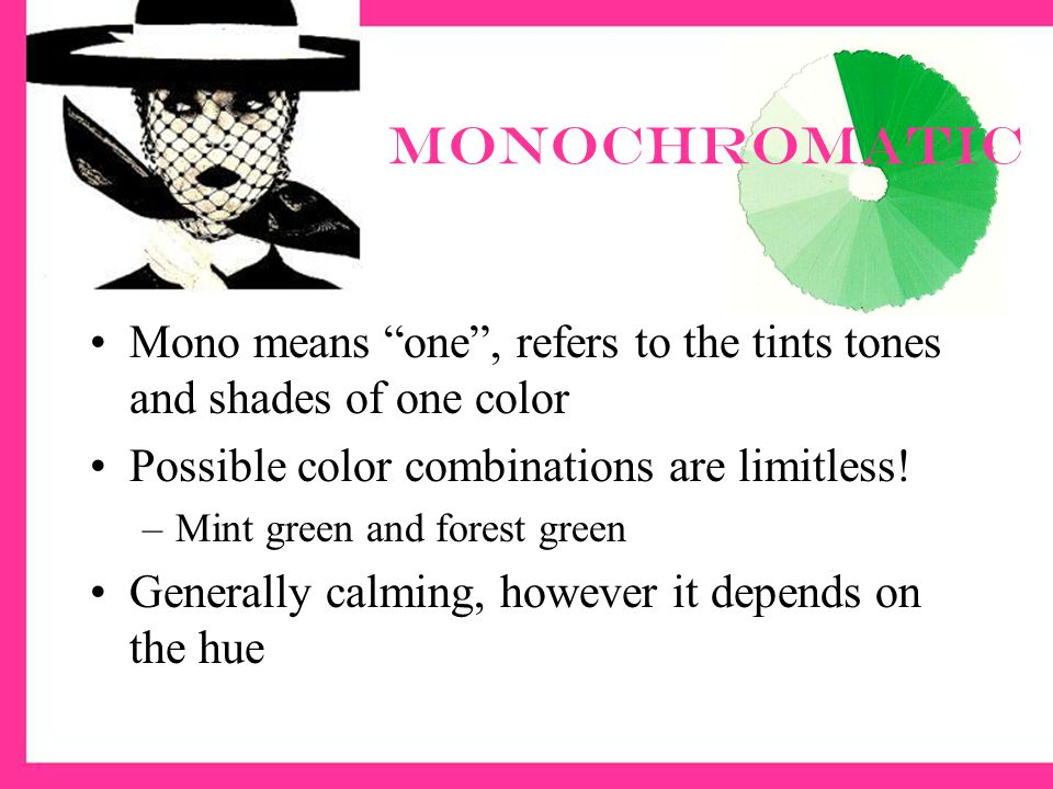 Monochromatic Mono means one , refers to the tints tones and shades of one color Possible color combinations are limitless.