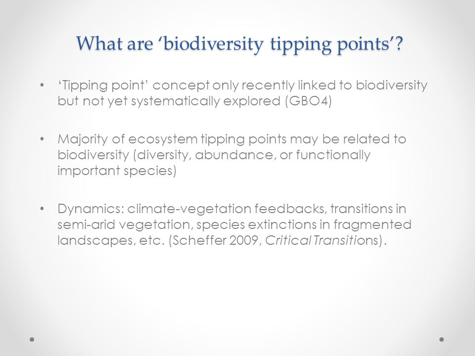 What are 'biodiversity tipping points'.